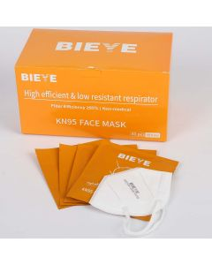 Bieye KN95 Face Mask High Efficient Low Resistant Respirator Protective Mask, 50Pcs, White