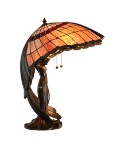 Bieye L10001 Flying Lady Tiffany Style Stained Glass Table Lamp with Brass Base, L22 x W18 x H28 inches, Orange
