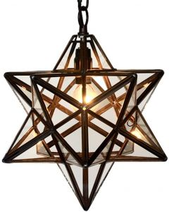 Bieye L10077 12-inch Moravian Star Tiffany Style Stained Glass Ceiling Pendant Lamp, 51-inch Tall (Clear Glass)