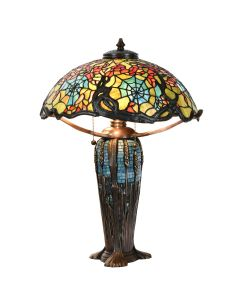 Bieye L10550 Cobweb and Cherry Blossom Tiffany Style Stained Glass Table Lamp with 18-inch Wide Lampshade Brass Wheat Mosaic Base, 24-inches Tall