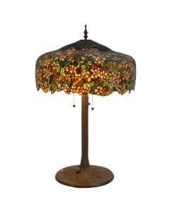 "Bieye L10552 Cherry Blossom Tiffany Style Table Lamp with Tree Trunk Brass Base, 22""W x 30""H"