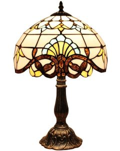Bieye L10641 Baroque Tiffany Style Stained Glass Table Lamp Night Light with 12 inches Wide Lampshade Metal Base for Bedside Living Room Bedroom, Brown, 18-inch Tall
