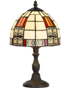 "Bieye L10728 Color Block Tiffany Style Stained Glass Table Lamp with 8-inch Wide Lampshade for Bedside Bedroom Living Room, 13""H"