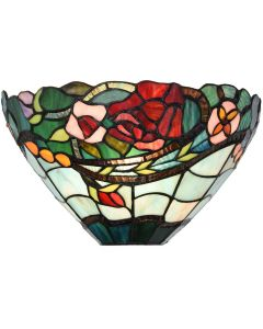 Bieye L10735 Rose Flower Tiffany Style Stained Glass Wall Sconces Lamp, 12-inch Wide