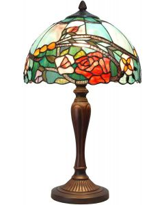 Bieye L10737 Rose Flower Tiffany Style Stained Glass Table Lamp with 12-inch Wide Lampshade, 21-inch Tall, Red