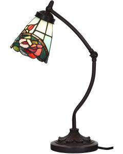 Bieye L10759 Rose Flower Tiffany Style Stained Glass Rocker Arm Desk Lamp Night Light with 5 inch Wide Lampshade for Working Reading Table, Green Red, 19 inch Tall