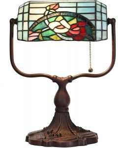 "Bieye L10760 Rose Flower Tiffany Style Stained Glass Banker Desk Lamp, 9""W x 15""H, Red Green"