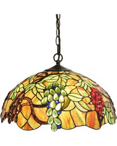 Bieye L10762 Grape Tiffany Style Stained Glass Ceiling Pendant Light with 18 inches Wide Shade, 3-Light, Hard-Wired