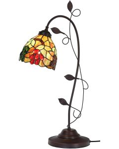 Bieye L10763 Grape Tiffany Style Stained Glass Table Lamp with Grapevine Decorated Base, 28 inches Tall