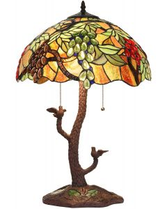 Bieye L10765 Grape Tiffany Style Stained Glass Table Lamp with Tree Trunk Mosaic Base, 24-inches Tall