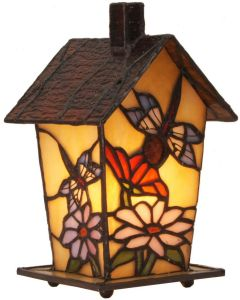 Bieye L10782 Birdhouse Tiffany Style Stained Glass Table Lamp Night Light, 7-inches Tall (Dragonfly)