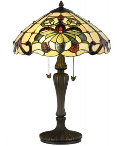 Bieye L10806 Baroque Tiffany Style Stained Glass Table Lamp 23.5 inches Tall, Green