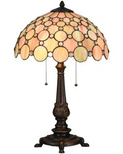 Bieye L10807 Jeweled Round Pattern Tiffany Style Stained Glass Table Lamp 24 inches Tall, Red Green