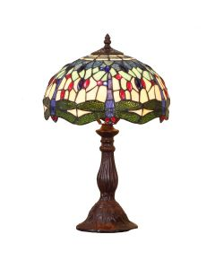 Bieye L11402 Dragonfly Tiffany Style Stained Glass Table Lamp with 12-inch Wide Lampshade, 18-inch Tall