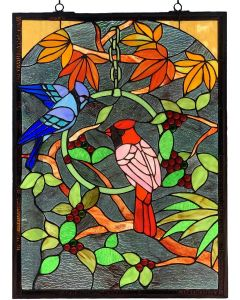 "Bieye W10052 Blue Jay and Cardinal on Branches Tiffany Style Stained Glass Window Panel with Chain, Rectangle Shape, 18"" W x 24"" H"