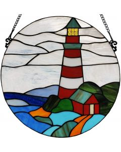 Bieye W10054 Lighthouse Tiffany Style Stained Glass Window Panel Hangings with Chain, Round Shape, 16-inch Wide