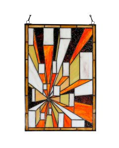 "Bieye W10056 Color Block Tiffany Style Stained Glass Window Panel with Chain, 12"" L x 18"" H"