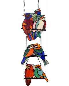"Bieye W10060 Tropical Birds Tiffany Style Stained Glass Window Panel with 3 Pieces Hanging Successively Within Chains, 10"" W x 39"" H"