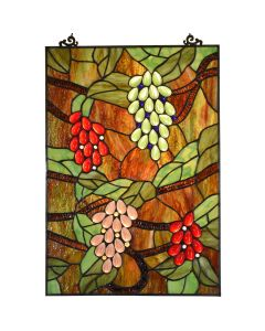 "Bieye W10065 Grape Tiffany Style Stained Glass Window Hanging Panel, Rectangular Shape, 13.5"" W x 19.5"" H"