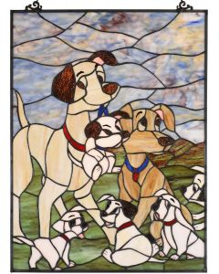"Bieye W10068 Dogs Puppies Tiffany Style Stained Glass Window Panel Hangings with Chain, 18"" L x 24"" H"