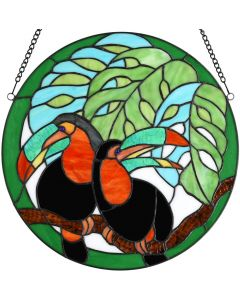 Bieye W10070 Pair of Toucans in The Swiss Cheese Plant Tiffany Style Stained Glass Window Panel, Round Shape, 16 inches Wide